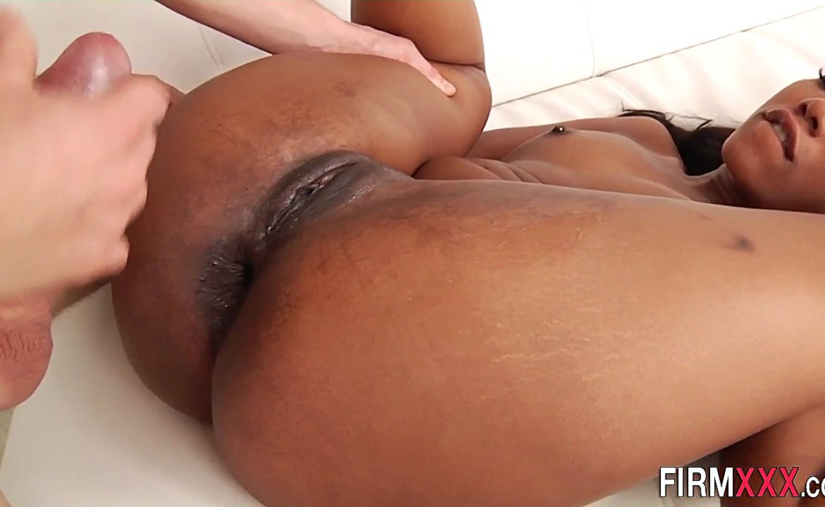 Ebony babe sucks and gets her booty pounded