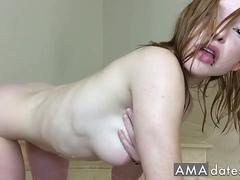Pale Redhead Fucks Her Hairy Pussy