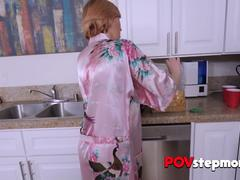 Horny stepson opens his kinky stepmoms robe off in the kitchen