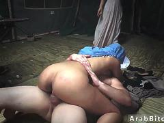 Arab girl sucking cock and virgin Sneaking in the Base