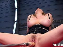 Machine milf gets hairy pussy dildoed deeply