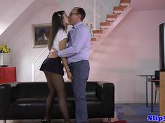 Lovely schoolgirl bouncing on old mans dong