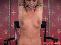 Submissive babe bound and punished by maledom