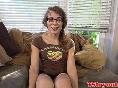 Spex tranny tugging her dick at casting