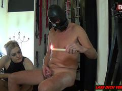 Rough CBT Session with amateur BDSM femdom during german fetish session
