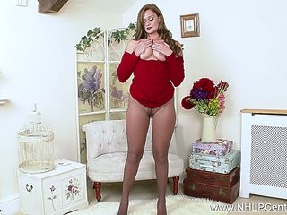 Natural brunette Honour May wanks off in black pantyhose with her fingers and glass toy