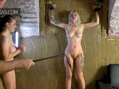 Innocent little blonde bitch whipped