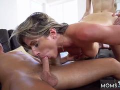 Leather leggings german blonde first time Stepmom Turns Wet Dreams Into Reality