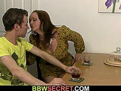 Young dude cheating wife with busty brunette bbw
