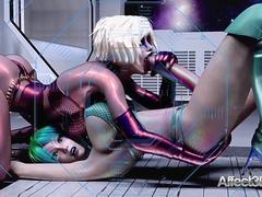 3d Animated Futanari Babes Having Threesome In A Space Station