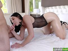 Violet Rain bounces on top of the studs huge cock