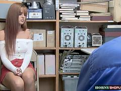 Teen Scarlett Mae gets caught and fucked by horny Officers huge cock