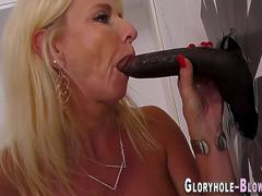 Milf blows gloryhole dong