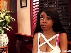 Ebony slut, Brittney White got too horny to skip cheating on her husband, with his best friend