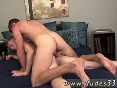 Teenage hung gay twink boy first time Bryan frees and works his cock shooting his molten