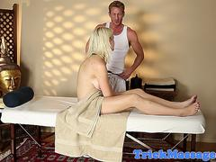 Hot blonde with braces gives a blowjob