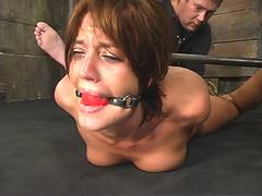 Slut in bondage with huge deep ball gag. This is the best gag ever!
