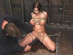 whitneys huge breasts in tight bondage and made to cum feature