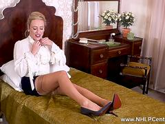 Posh blonde Axa Jay wanks with sex toy as you jerk off aroused by high heels vintage nylons