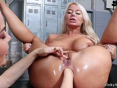 Busty lesbian Milf anal fisted and fucked