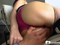 Brunette Japanese girl gets her huge tits covered