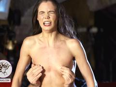 Thin slut gets her hair and nipples pulled