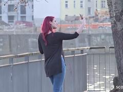 GERMAN SCOUT - Redhead College Teen Melina talk to Fuck at Street Casting