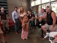Blonde anal fisted and fucked in public