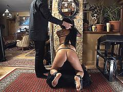 Slave girl spanked and her sole caned