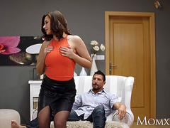 MOM Big tits Russian MILF Anna Polina in sexy stockings with an oiled ass