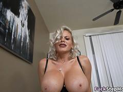 Big tits cougar stepmom fucked on the couch