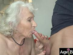 Granny Norma ride and bounce up and down on Robs massive cock