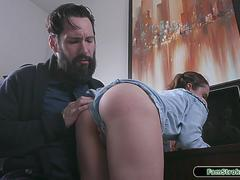 Pigtailed stepdaughter gets spanked by her stepdad for lying