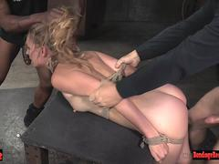 Bound squirting sex slave pussy pounded