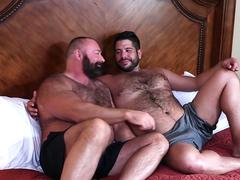 Hairy fatty guys spending the time alone on a secret hotel