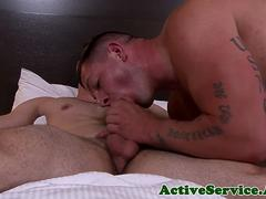 Muscular man of uniform tastes his first cock