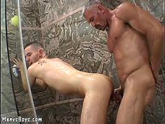 sexy lad takes old dick in shower video