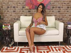 Getting Oily With Big Tit Brunette Alexis Zara in Live Masturbation Show