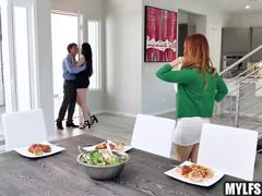 Redhead MILF Meets Her Daughters Boyfriend and Fucks Him at Dinner