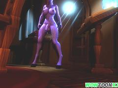 Huge dick draenei from Warcraft jerking off