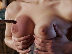 Tattooed slut breast tortured