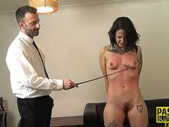 Sub whipped and fucked