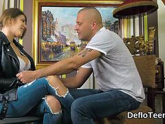 Hottie in jeans Aza Puzo is stripped and gently kissed