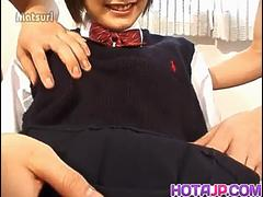 Nao Hirosue in uniform has hairy cunt fucked with dildo and cocks - More at hotajp com