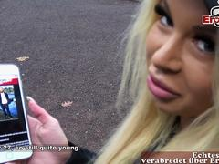 german big tits fitness blonde pick up a shy guy for porn casting and he fail