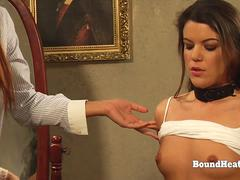Two Tied Up Lesbian Slaves Whipped Together By Merciless Madame