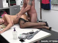 Security officer teaching the milf shoplifter her lesson