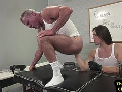 Athletic lad fisting muscled DILFs ass