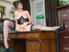Brunette JOI Kate Anne flaunts her big natural tits juicy pussy in vintage corset sheer nylons