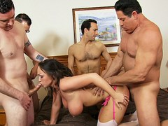 Big tit amateur wife gets gangbanged by five men